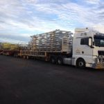 AUSPAN Truck delivering structural steel to Port Headland Port Authority for the Stage 3 Maintenance Workshop